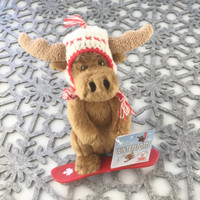 "Stuffed Animal House 6"" Brown Moose Canada Wildlife Wild Snowboarding Canadian Pilot Knit Hat Red Plastic Snowboard Embroidered Knitted Printed White Maple Leaf Plush Snow Winter Toy WS-SNOW-06"