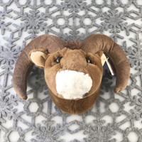 "Stuffed Animal House 6"" Brown Bighorn Sheep Head Wall Toy Walltoy Mini Jr. Junior Wild Soft Furry Fuzzy Horns Plush Critter Canadian North American Wildlife Hunting JR-12"