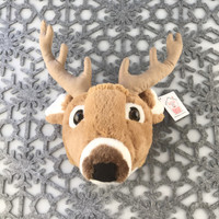 "Stuffed Animal House 6"" Brown Whitetail Deer Head Wall Toy Walltoy Mini Jr. Junior Wild Soft Furry Fuzzy Antlers Plush Critter Canadian North American Wildlife Hunting JR-14"