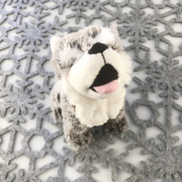 "Stuffed Animal House 7"" Gray Howling Wolf Grey White Northern Wildlife Naturals Wild Plush Toy Sitting Upright Soft Fuzzy Furry Front"