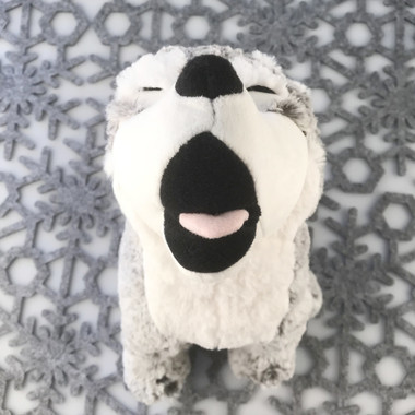 """Stuffed Animal House 7"""" Gray Howling Wolf Grey White Northern Wildlife Naturals Wild Plush Toy Sitting Upright Soft Fuzzy Furry Front"""