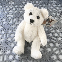 "Stuffed Animal House 10"" White Polar Bear Curly Critter Ultra Soft Wildlife Cuddly Cute Adorable Wild Plush Toy Bentley TB-03"