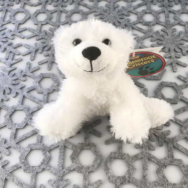 "Stuffed Animal House 7"" White Polar Bear Maplefoot Critter Soft Wildlife Cuddly Cute Adorable Wild Embroidered Red Canadian Maple Leaf Plush Toy MF-03"