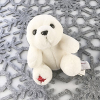 "Stuffed Animal House 4.5"" White Polar Bear Maplefoot Babies Soft Wildlife Cuddly Cute Adorable Tiny Wild Embroidered Red Canadian Maple Leaf Small Teeny Itsy Bitsy Plush Toy BB-03"