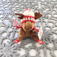 "Stuffed Animal House 4"" Skiing Moose Wintersports Knit Pilot Hat Canadian Winter Ski Keychain Zipper Pull Mini Red Plastic Skis Canada Maple Leaf Key Chain Tiny Soft Brown Furry Fuzzy Clip Backpack Cute Wild Critter Plush Toy KS-SKI-06"