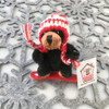 "Stuffed Animal House 4"" Snowboarding Black Bear Wintersports Boarder Knit Pilot Hat Canadian Winter Snowboard Keychain Zipper Pull Mini Red Plastic Board Canada Maple Leaf Key Chain Tiny Soft Furry Fuzzy Clip Backpack Cute Wild Critter Plush Toy KS-SNO-06"