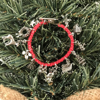 HOTI Hemp Handmade Merry Christmas Charms Roach Clip Red Hemp Ladies Womens Holiday Charm Bracelet Reindeer Pine Tree Holly Wreath Star Santa Sled Gingerbread Man House Snowman Gift Box Charm Made in Canada 4/20 Hand Crafted Made in Toronto Made in Ontario Boho Chic 420 Clip-It Cannabis Alligator Clip Clasp Canadian Toronto Ontario Canada