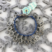 HOTI Hemp Handmade Star of David Charms Roach Clip Blue Hemp Ladies Womens Jewish Holiday Passover Hanukkah Hanukah Charm Bracelet Israel Made in Canada 4/20 Hand Crafted Made in Toronto Made in Ontario Boho Chic Antique Silver Pewter 420 Clip-It Cannabis Alligator Clip Clasp Canadian Toronto Ontario Canada
