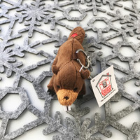 """Stuffed Animal House 4"""" Brown Beaver Keychain Wild North American Realistic Zipper Pull Mini Key Chain Tiny Buck Teeth Embroidered Red Canadian Maple Leaf Soft Furry Fuzzy Plush Clip Backpack Critter Canada Soft Toy NB-99 Front"""