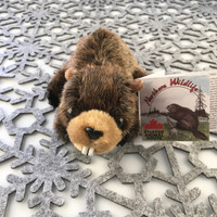 "Stuffed Animal House 7"" Brown Beaver North American Naturals Canada Soft Wildlife Cuddly Cute Adorable Canadian Wild Plush Realistic Toy Buck Teeth Fuzzy Furry Critter NB-01 Front"