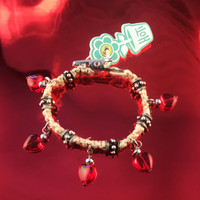 HOTI Hemp Handmade Red Heart Love Rocks Natural Hemp Fancy Metal Silver Spike Beads Ladies Womens Charm Bracelet Made in Canada Hand Crafted Made in Toronto Made in Ontario Boho Chic Valentine Beaded Pressed Glass Hearts Charms Clip-It 420 Marijuana Cannabis Alligator Clip Clasp Roach Clip Rock Toronto Ontario Canada