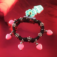 HOTI Hemp Handmade Pink Heart Love Rocks Black Hemp Fancy Metal Silver Spike Beads Ladies Womens Charm Bracelet Made in Canada Hand Crafted Made in Toronto Made in Ontario Boho Chic Valentine Beaded Pressed Glass Hearts Charms Clip-It 420 Marijuana Cannabis Alligator Clip Clasp Roach Clip Rock Toronto Ontario Canada