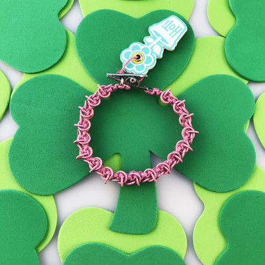 HOTI Hemp Handmade Pink Chain Link Maille Ladies Womens Chainmaille Linked Chains Bracelet Made in Canada Hand Crafted Made in Toronto Made in Ontario Celtic Medieval Valentine Halloween Clip-It 420 Marijuana Cannabis Alligator Clip Clasp Roach Clip Rock Toronto Ontario Canada