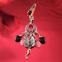 HOTI Hemp Handmade Black Pink Glass Hearts Charms Silver Metal Flying Winged Fairy Charm Angel Pendant Roach Clip Heart Beads Love Soars Rocks Chandelier Made in Canada Hand Crafted Made in Toronto Made in Ontario Valentine Fantasy Clip-It 420 Marijuana Cannabis Weed Alligator Clip Rock Ladies Women's Toronto Ontario Canada Canadian Made