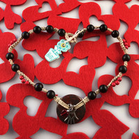 HOTI Hemp Handmade Blood Fire Red Jasper Donut of Healing Hand Glass Heart Charms Black Wood Bead Natural Hemp Crystal Stone Mineral Beads Pewter Metal Charm Ladies Women's DOH! Collection Knotted Necklace Hand Crafted Made in Toronto Made in Ontario Made in Canada Boho Chic Beaded Toronto Ontario Canada Canadian Made