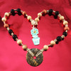 HOTI Hemp Handmade Leopardskin Jasper Donut of Healing Jaguar Stone Black Brown Tan Beads Wood Bead Natural Hemp Crystal Stone Mineral Ladies Women's DOH! Collection Knotted Necklace Hand Crafted Made in Toronto Made in Ontario Made in Canada Boho Chic Beaded Toronto Ontario Canada Canadian Made