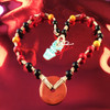 HOTI Hemp Handmade Red Jasper Donut of Healing Blood Stone Black Yellow Beads Wood Bead Natural Hemp Crystal Semiprecious Mineral Ladies Women's DOH! Collection Knotted Necklace Hand Crafted Made in Toronto Made in Ontario Made in Canada Boho Chic Beaded Toronto Ontario Canada Canadian Made