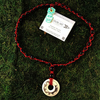 HOTI Hemp Handmade Red Dragon Celtic Art Annulus Fine Porcelain Pendant Donut Black Wood Bead Red Hemp Beaded Ladies Women's Collection Knotted Long Necklace Y Shaped Touchstone Pottery Spiral Twisted Hand Crafted Made in Toronto Made in Ontario Made in Canada Boho Chic Beaded Toronto Ontario Canada Canadian Made