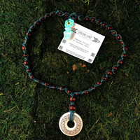 HOTI Hemp Handmade Knotwork Celtic Art Annulus Fine Porcelain Knot Pendant Donut Brown Wood Bead Green Hemp Beaded Ladies Women's Collection Knotted Long Necklace Y Shaped Touchstone Pottery Spiral Twisted Hand Crafted Made in Toronto Made in Ontario Made in Canada Boho Chic Beaded Toronto Ontario Canada Canadian Made