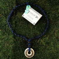 HOTI Hemp Handmade Fish Celtic Art Annulus Fine Porcelain Salmon Trout Fishes Underwater Sea Ocean Pendant Donut Black Wood Beads Blue Hemp Beaded Ladies Women's Collection Knotted Round Bead Long Necklace Y Shaped Touchstone Pottery Spiral Twisted Hand Crafted Made in Toronto Made in Ontario Made in Canada Boho Chic Beaded Toronto Ontario Canada Canadian Made