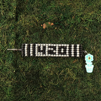 HOTI Hemp 420 Handmade Silver Black Gray Grey Beaded Roach Clip Cuff Bracelet Wood Crow Beads Ladies Womens Mens Unisex Woven Knotted Lightweight Stripes Made in Canada Hand Crafted Made in Toronto Made in Ontario 4:20 4/20 Marijuana Jewellery Cannabis Jewelry Weed Accessories Pot Accessory Alligator Clip Clasp Toronto Ontario Canada Canadian Number Time