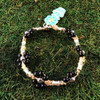 HOTI Hemp Handmade Beige Natural Hemp Maria Signature Flower Power Anklet Black Wood Silver Metal Beads Tube Dog Bone Beaded Flowers Floral Ladies Women's Woman Ankle Bracelet Hand Crafted Made in Canada Made in Toronto Made in Ontario Boho Chic Clasp-It Lobster Clasp Toronto Ontario Canada Canadian