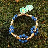 HOTI Hemp Handmade Beige Natural Hemp Maria Signature Flower Power Anklet Bright Blue Wood Silver Metal Beads Tube Dog Bone Beaded Flowers Floral Ladies Women's Woman Ankle Bracelet Hand Crafted Made in Canada Made in Toronto Made in Ontario Boho Chic Clasp-It Lobster Claw Clasp Toronto Ontario Canada Canadian