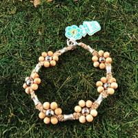 HOTI Hemp Handmade Beige Natural Hemp Maria Signature Flower Power Anklet Beige Wood Silver Metal Beads Tube Dog Bone Beaded Flowers Floral Ladies Women's Woman Ankle Bracelet Hand Crafted Made in Canada Made in Toronto Made in Ontario Boho Chic Clasp-It Lobster Clasp Toronto Ontario Canada Canadian