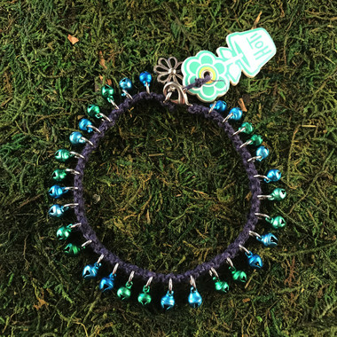 HOTI Hemp Handmade Navy Blue Hemp Anklet Turquoise Green Earth Mini Steel Metal Metallic Bells Ring My Bell Belles Ladies Women's Girls Jewellery for Woman Ankle Bracelet Hand Crafted Made in Canada Made in Toronto Made in Ontario Bali Boho Chic Clasp-It Lobster Claw Clasp Toronto Ontario Canada Canadian Jewelry