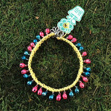 HOTI Hemp Handmade Mellow Yellow Hemp Anklet Light Pale Bright Hot Pretty Pink Turquoise Blue Mini Steel Metal Metallic Bells Ring My Bell Belles Ladies Women's Girls Jewellery for Woman Ankle Bracelet Hand Crafted Made in Canada Made in Toronto Made in Ontario Bali Boho Chic Clasp-It Lobster Claw Clasp Toronto Ontario Canada Canadian Jewelry