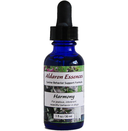 Harmony flower essence blend for dogs. Reduce jealousy and resentment, increase tolerance and patience. Wonderful for multi-dog households!