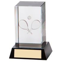 Conquest Tennis crystal 3D image glass trophy rackets and ball
