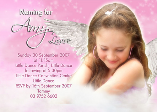 Heavenly angel girls naming invitations christening or baptism