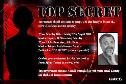 Top Secret agent 007 spy party invitations for sale This message