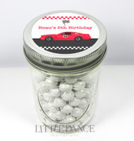 Custom & personalised mason jar birthday party favours - buy online Australia  - Race Car theme