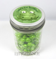 Personalised mason jar birthday party favours for sale online - Green Frog theme