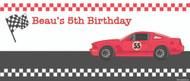 Boys Birthday Banner - Racing Race Car Banner
