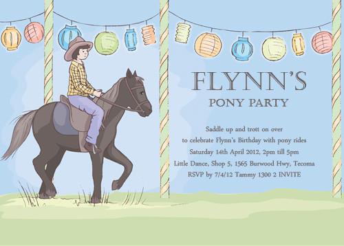 buy boys pony party invitations online - printable boys horse, Party invitations