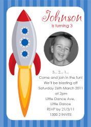 Rocket Birthday Party Invitations