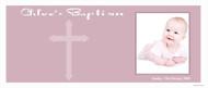 Christening & Baptism Banner - Pink Religious Cross