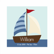 Personalized Sailboat Boys Bedroom Wall Canvas Art