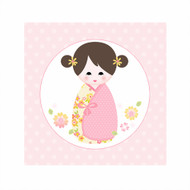 Pink Kokeshi Japanese Doll Bedroom Wall Canvas Art
