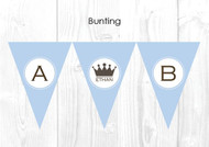 Boys Little Prince Themed Christening & Baptism Personalised Bunting Decoration Flags