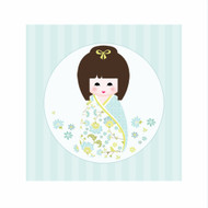 Blue Kokeshi Japanese Doll Bedroom Wall Canvas Art