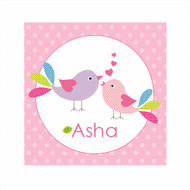 Personalised Love Birds Bedroom Wall Canvas Art