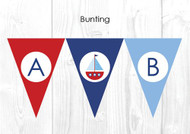Boys Nautical Sailboat Christening & Baptism Personalised Bunting Decoration Flags
