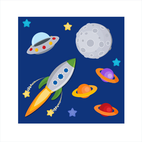 Outer space kids art lost in space themed canvas art for Outer space design australia
