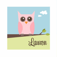 Personalised Owl Bedroom Wall Canvas Art