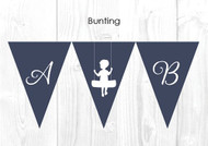 Silhouette Swing Christening & Baptism Personalised Bunting Flags