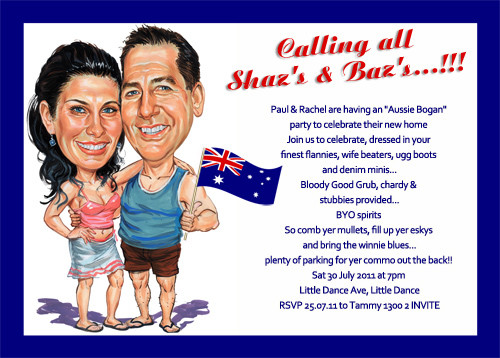 Buy custom aussie caricature bogan party invitations australia aussie bogans personalised cariacture birthday party invitation filmwisefo Choice Image
